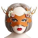 Smile YKK Hirsch Filz Damen Blüte Anlass Party Mascken Cosplay Ausschnittmaske Karneval Maske Augenmaske Venezianische Masken Mit Seidenband Braun
