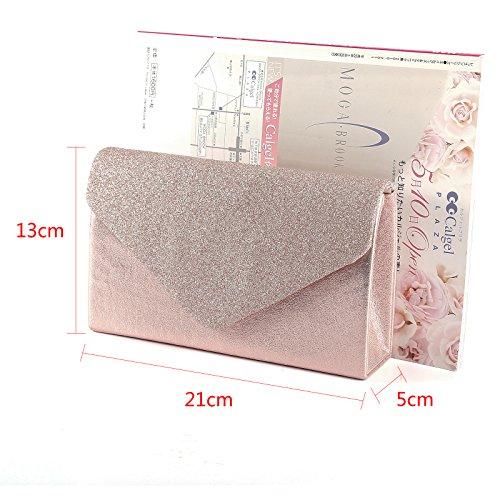 Neu schicke Damentasche glitzend umklappende Decke Abendtasche Clutch Handtasche mit Kette 4 Farbe rosegold