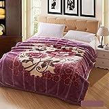 Wddwarmhome Couverture chaude d'hiver Couverture de couverture de chambre de couverture de Purple Couverture de nappe de bureau de motif floral Couverture de Raschel Doux et confortable Taille: 200 * 230cm Couvertures