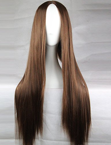 hes Haar cosplay heiße Modelle hochwertige synthetische Perücke 80cm Hochtemperatur braune glatte Haare langen glatten Haaren ()