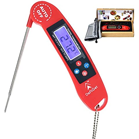 Instant Read Thermometer Digital - Great for BBQ,Meat,Baking,steak,Grilling,Cooking,Liquids & All Professional Food - Electronic Screen and Talking Collapsible Internal long Probe Red Upgrade Version by