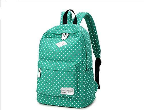 Xiuxiandianju 20-35L Canvas-Schulter-Taschen für Mädchen und jungen, Freizeit Reisen Polka Dot Rucksack Green