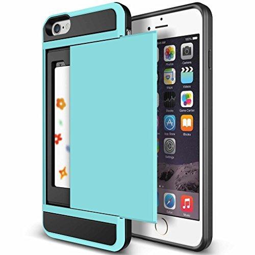 iPhone 6Case, anuck iPhone 6Wallet Case [Anti Scratch] [Heavy Duty] [Karte Pocket] Dual Schicht Hybrid Rubber Bumper Schutzhülle Karte case cover für Apple iPhone 611,9cm & iPhone 6S 11,9cm-Hellblau -