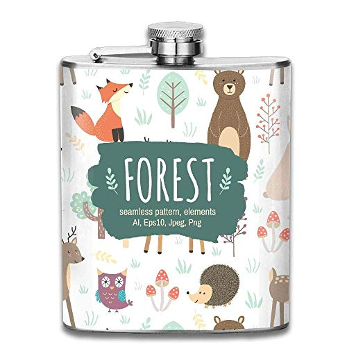 d07af4660eaf Cute Woodland Animal Tribe Fashion Portable Stainless Steel Hip Flask  Whiskey Bottle 7 Oz