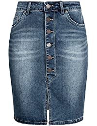Sublevel Damen Stretch Jeans Rock LSL-266 knielang Knopfleiste