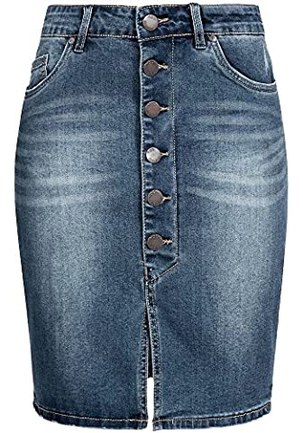 Sublevel Damen Stretch Jeans Rock LSL-266 knielang Knopfleiste middle blue M