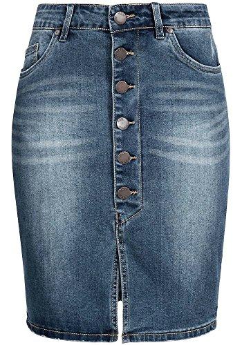 Sublevel Damen Stretch Jeans Rock LSL-266 knielang Knopfleiste middle blue XS