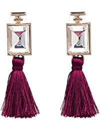 Shalanzz Maroon Tassel Earrings Clear Stone Fashion Jewellery Dangle And Drop Earrings For Women And Girls