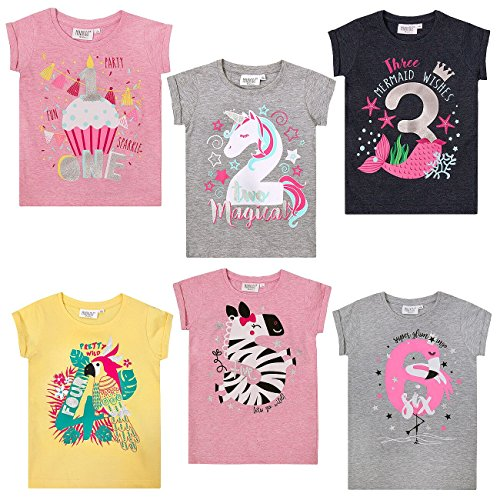 Hoolaroo Girls Birthday T-Shirt Age 1st 2nd 3rd 4th 5th 6th