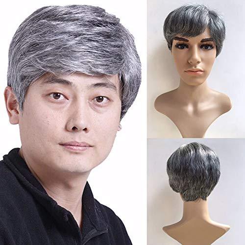 YANXS Herren Perücke Kurzes Glattes Haar für Mittleren Alters oder ältere Menschen Täglichen Gebrauch oder Kostüm Cosplay Perücke 8 Zoll,Splitter Grau (Halloween Kostüme Alte Menschen)