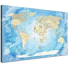 """'Lana KK–Lienzo–""""Worldmap Blue Ocean Francés En Marco de madera mapamundi Foto lienzo en azul, tríptico) & enmarcado en 150x 100cm"""