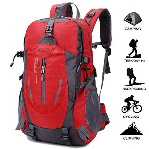 Geila Deportes al aire libre impermeable 40L senderismo Camping Daypack equipaje mochila (rojo)