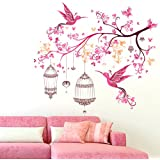[Sponsored]Wallmonks Colourful Branch With Beautiful Birds And Cages , Pink Wall Stickers