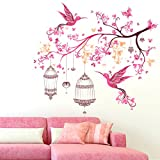 #9: Colourful Branch with Beautiful Birds and Cages - Pink