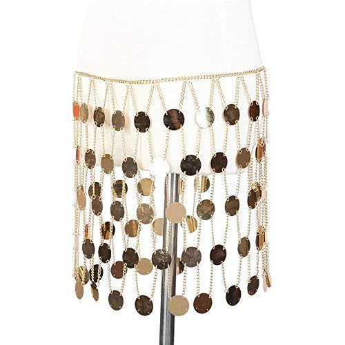 ain Körper Kette Halskette schöne Silber oder Gold getönten Metall Tribal Jingly Bauchtanz Tanz Kostüm Hüfte Münze Gürtel (Farbe : Gold, Größe : Free Size) ()