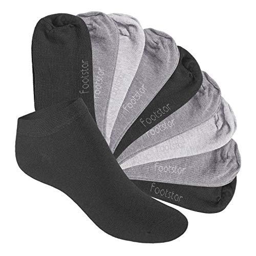 Footstar 10 Paar SNEAK IT! KIDS Kinder Sneaker Socken - (31-34, Classic Grey)