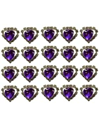 Jewellery of Lords 20 Purple Heart Shaped Large Coloured Crystal Hair Pin with Clear Mounted Crystals Hairpin