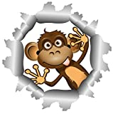 8 x 8 cm - Konturschnitt - Lustiger Aufkleber Affe Äffchen Einschussloch Autoaufkleber Sticker fürs Auto Motorrad Handy Laptop outdoor / indoor wasserfest