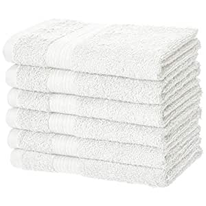 AmazonBasics Fade-Resistant Cotton Hand Towel - Pack of 6, White