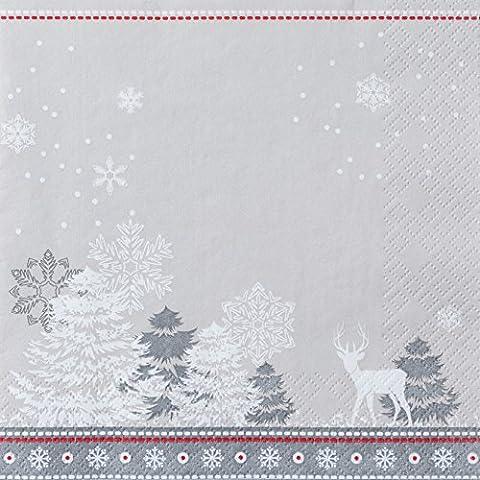 20 Servietten Harmonische Winterlandschaft / Weihnachten / Landschaft / Hirsch 33x33cm