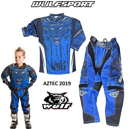 WULFSPORT AZTEC MX Bambini Tuta Moto Pantaloni e Maglia Bambino Motocross Scooter ATV Quad Kart Vestito de Capretti (8-10 anni, Blu)