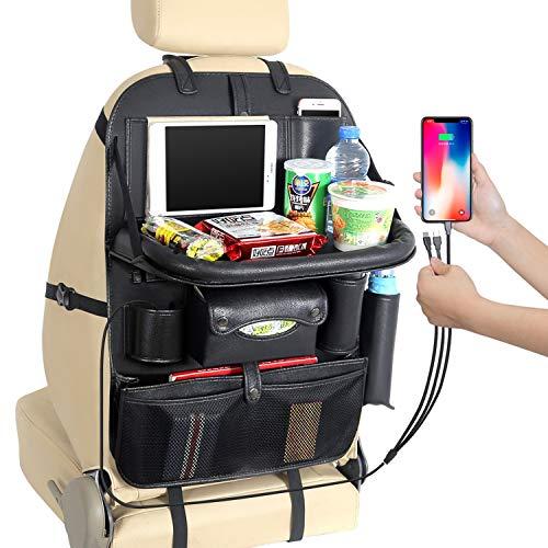 ZQQ Auto-Rücksitz-Organizer, 3 USB-Ladeanschluss, Aufbewahrungstasche Trittpolster Autositz-Rücksitzschutz-Reisezubehör,Black