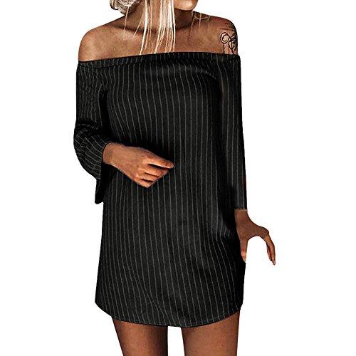 OSYARD Damen Langarm Gestreifte Aus Schulter Kleider Knielange, Frauen Sexy Herbst Winter Gestreiften SchräGstrich Mini-Kleid Strandkleid Swing Boho Kleid (M, Schwarz)