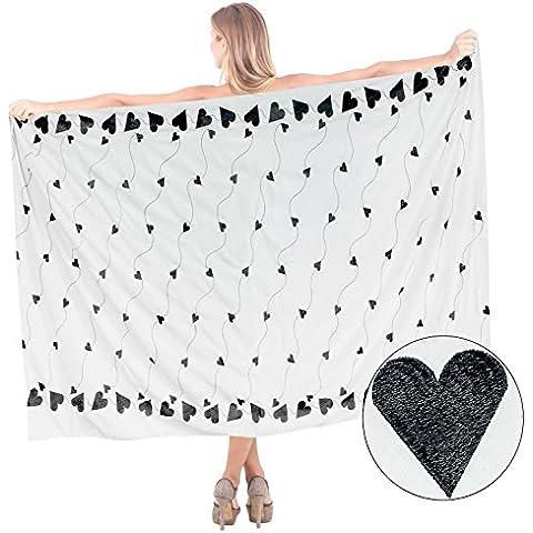La Leela cuerdas del corazón de algodón ropa de playa amor tema de la playa traje de baño bikini traje de baño, pareo un tamaño encubrir cms 177x101 vestido