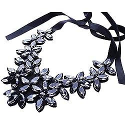Nuevo diseño de la cadena de la cinta de la flor corto colgante de cristal colgante Collar (Negro)