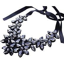 Nuevo diseño de la cadena de la cinta de la flor corto colgante de cristal colgante Collar