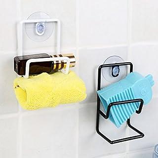 cuteco Saugnapf Küche Bürste Schwamm Handtuch Rack Waschbecken Entwässerung Waschen Halter schwarz