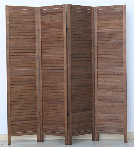 PEGANE Biombo persiana de Madera de 4 Paneles, Color marrón - Dim : A