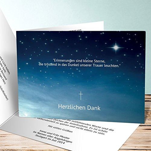 Danksagungskarten Trauer selbst gestalten, Nachthimmel 5 Karten, Horizontale Klappkarte 148x105 inkl. weiße Umschläge, Weiß