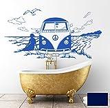 Wandtattoo Wandaufkleber Bulli Surfbus Bus Strand maritim M1532 - ausgewählte Farbe: *Dunkelblau* ausgewählte Größe: *L 100cm breit x 51cm hoch