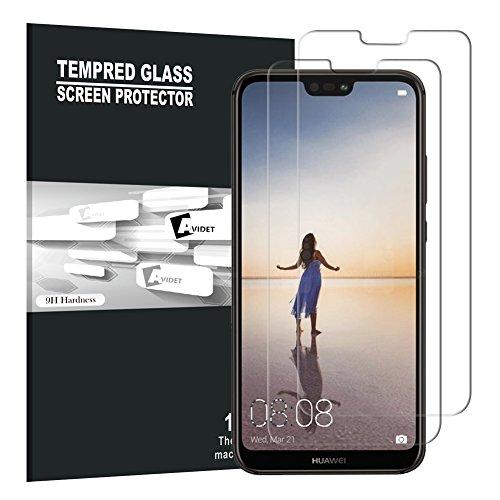 Huawei P20 Lite Pellicola Protettiva, AVIDET Premium - Pellicola protettiva per Display in Vetro Temperato per Huawei P20 Lite (2 X)