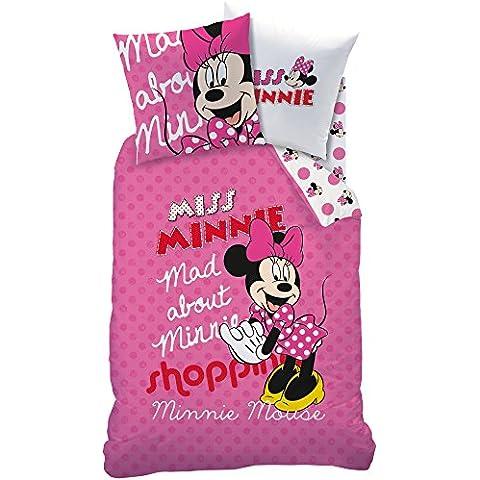 CTI 042652 Minnie - Funda de edredón (algodón, 140 x 200 cm, incluye funda de almohada de 63 x 63 cm), color rosa y blanco
