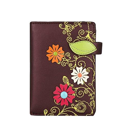 Borsa del portafoglio RFID MENKAI disegno fiori 774C2 Grigio Blu Purple Black