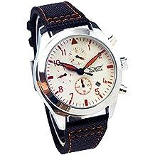 GuTe orologio da polso meccanico automatico casual da uomo, alla moda, quadrante bianco, lancette arancioni - Acciaio Arancione Dial