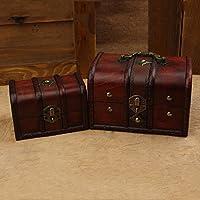 &ZHOU Europeo retro scatole in legno box. antico deposito serratura portagioie in legno