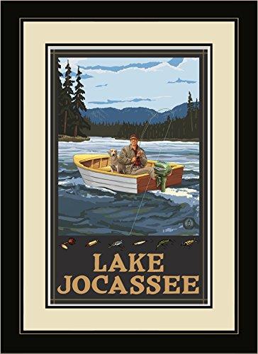 Northwest Art Mall fibh Lake jocassee South Carolina Fisherman in Boat Hills gerahmtes Wandbild Art von Künstler Paul A. lanquist, 40,6x 55,9cm