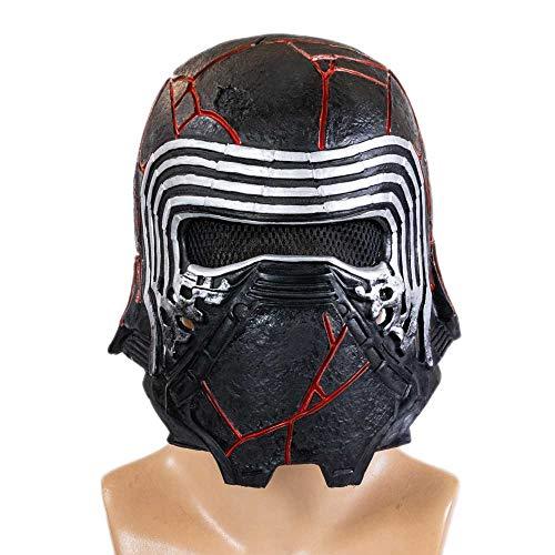 DealTrade Kylo Maske Erwachsene Latex Voller Kopf Helm Film SW Cosplay Kostüm Männer Schwarz Headwear Halloween Kostüm Merchandise Zubehör