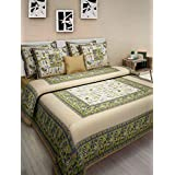 UniqChoice Pure Cotton Jaipuri And Rajasthani Traditional King Size Double Bedsheet With 2 Pillow Cover (Bedsheet- 272x227cm, Pilow-66x44cm, Blue)