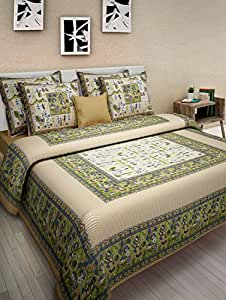 Uniqchoice Jaipuri Print 100% Cotton Rajasthani Tradition King Size Double Bedsheet With 2 Pillow Cover(Bige Color)
