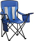AmazonBasics - Campingstuhl mit Kühlfach, Blau, Mesh