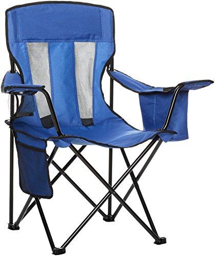 AmazonBasics - Silla de camping con enfriador, Azul (Malla)