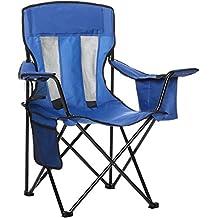 AmazonBasics - Sedia da campeggio con tasca termica, Blu (Rete)