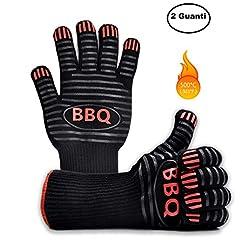Idea Regalo - Ponderato Guanti Barbecue Resistenti al Calore al Fuoco e alle Alte Temperature, Professionali, Accessori BBQ Ingnifughi per Griglia, Camino, Forno Pizza e Cucina (1 Paio)