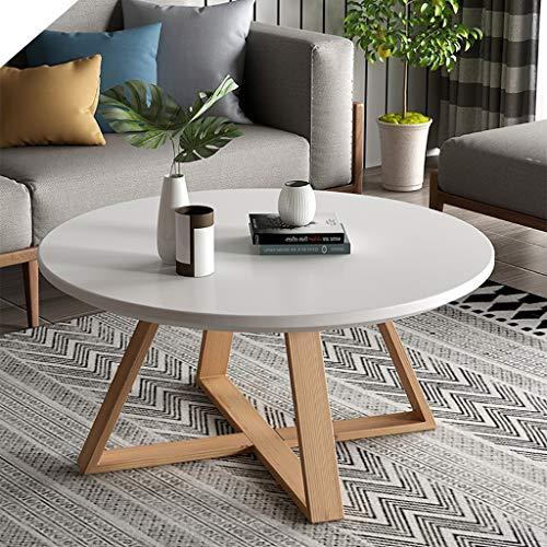 Stilvolle Home-office-möbel (Kurze Runde Couchtisch Holz Ende Beistelltisch Wohnzimmer Satztische mit X Basis Freizeit Holz Nachttische Tisch Akzent Sofa Tisch for Home Office Möbel Dekor ( Color : White , Size : 60cm diameter ))