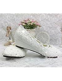 JINGXINSTORE Cuña de 3 cm de Cristal Marfil Cordón Zapatos de Boda Nupcial Talón bajo Tamaño de Bomba 5.5-8.5,...
