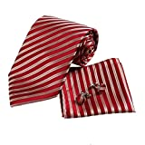 H5037 Red Striped Fashion Halloween Find Gift Idea Silk Tie Cufflinks Hanky Set 3PT By Y&G